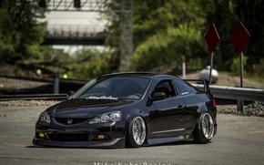 Картинка turbo, wheels, honda, black, japan, jdm, tuning, low, acura, stance, integra, rsx, dapper, type s