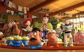 Обои мультфильм, герои, Базз, История Игрушек 3, Toy Story 3, Вуди