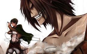 Картинка взгляд, злость, солдат, безразличие, гигант, парень, клинки, art, shingeki no kyojin, rivaille, Eren Jaeger, Fllay