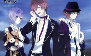 Картинка парни, братья, Diabolik Lovers, Sakamaki Kanato, Sakamaki Ayato, Sakamaki Reiji