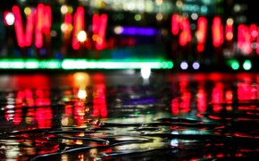 Обои вода, отражение, Огни