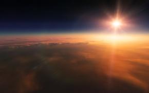 Картинка солнце, облака, лучи, закат, звёзды