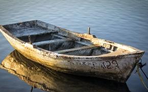 Обои река, фон, лодка