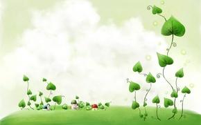 Картинка листья, рисунок, дома, Растение
