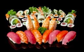 Картинка лосось, ассорти, тунец, рис, зелень, черный фон, роллы, креветки, морепродукты, рыба, суши