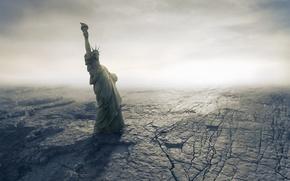 Обои Apocalypse, catastrophe, Armageddon, disaster, fantastic, dry, American, пустыня, Statue of Liberty, cracks, Апокалипсис, desert, катастрофа