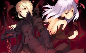Обои оружие, девушки, меч, аниме, арт, fate stay night, dark saber, distortion, dark matou sakura, kinta