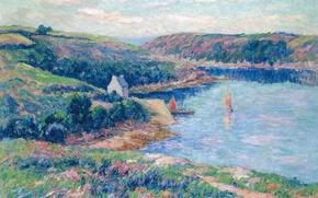 Картинка пейзаж, горы, холмы, лодка, картина, яхта, парус, Анри Море, Река Белон
