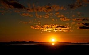 Картинка небо, облака, пейзаж, закат, красота