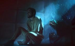 Картинка страх, арт, монстры, мужчина, кошмар, James Strehle, смерительная рубашка