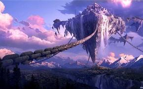 Картинка небо, горы, расщелина, цепи, Парящий остров