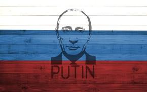 Картинка red, white, Russia, wood, blue, flag, colour, President, Putin