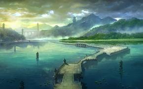 Картинка дорога, лето, мост, гора, утро, арт