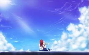 Картинка небо, облака, девочки, арт, объятия, air, сидя, kamio misuzu, kamio haruko, yottin