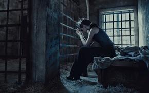 Картинка одиночество, Девушка, решетка, окно, принцесса, тюрьма