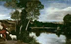 Картинка картина, мифология, Фра Хуан Батиста Маино, Пейзаж со Святым Иоанном Крестителем