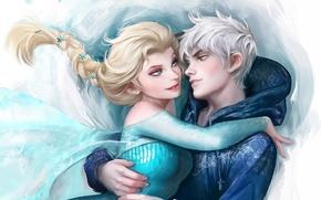Картинка Frozen, Rise of the Guardians, Elsa, Jack Frost, Snow Queen, Холодное сердце, Winter Spirit