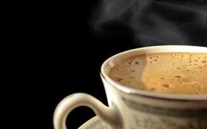 Обои пенка, пар, чашка, кофе, гарячий, пузырьки