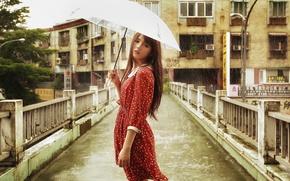Картинка взгляд, девушка, мост, лицо, зонтик, дождь, платье, азиатка, погода