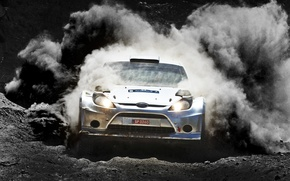 Картинка Ford, Авто, Пыль, Спорт, Гонка, Занос, Фары, WRC, Rally, Fiesta