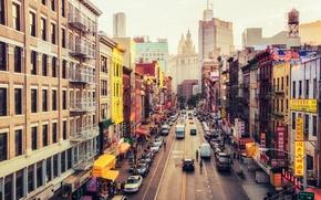 Обои USA, United States, New York, Manhattan, NYC, New York City, Street, East Broadway, Chinatown, America, ...