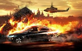 Обои Wheelman, Погоня, вертолет, огонь