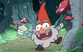 Картинка лес, гном, Gravity Falls, Гравити Фолз
