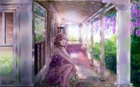 Картинка взгляд, арт, лак, домик, девушка, лето, сидит, Sillselly
