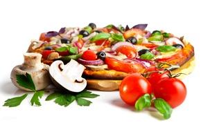 Обои сыр, помидоры, шампиньоны, маслины, грибы, лук, пицца
