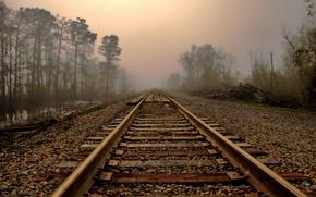 Картинка туман, утро, пейзаж, рельсы, дорога