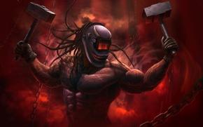 Обои оружие, цепи, зубы, арт, молот, маска, фантастика