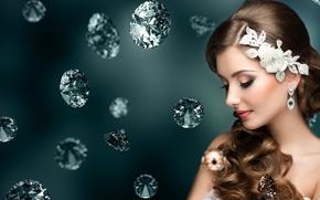 Картинка девушка, украшения, камни, макияж, сережки, diamond, украшения для волос