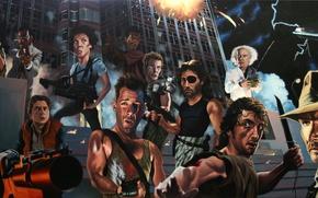 Обои Heróis dos anos 80, Рембо, Назад в Будущее, Крепкий Орушек, Терминатор, Индиана Джонс