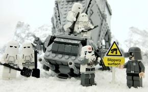 Картинка Зима, Клоны, Star Wars, Звёздные войны, Lego, Slippery Surface, Скользкая Поверхность