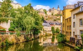 Обои дома, Люксембург, река, герцогство, Зауэр