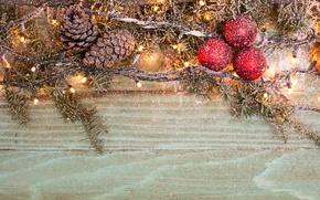 Картинка снег, шары, елка, Новый год, гирлянда, Christmas, шишки, snow, New Year, 2017