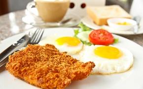 Картинка кофе, яйца, мясо, помидор, coffee, meat, tomato, scrambled eggs