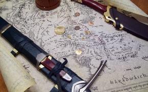 Картинка карта, кинжал, sword, Властелин Колец, монеты, Дж. Р. Р. Толкин, The Lord of the Rings, …