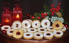 Картинка ель, печенье, фонари, выпечка, 2016