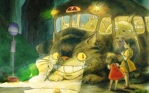 Картинка Хаяо Миядзаки, Сацуки, Мэй, Котобус, Мой сосед Тоторо