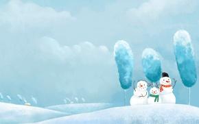 Картинка снег, новый год, снеговики