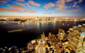 Картинка ночь, огни, Нью-Йорк, панорама, США
