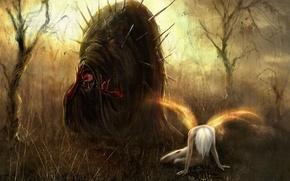 Обои Ангел, монстр, иглы