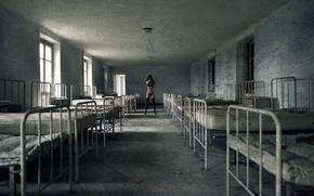 Картинка девушка, фон, больница