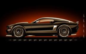 Картинка тюнинг, рисунок, Ford Mustang, форд, muscle car, Hollywood Hot Rods