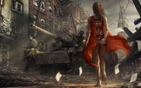 Картинка девушка, солдаты, танк, инфекция, вирус, красное платье