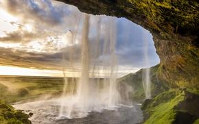 Картинка водопад, Исландия, Селйяландсфосс, seljalandsfoss