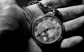 Картинка black and white, hand, clock