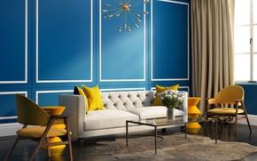 Картинка комната, диван, стулья, интерьер, подушки, окно, сочные цвета