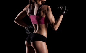Обои shadows, workout, dumbbells, woman